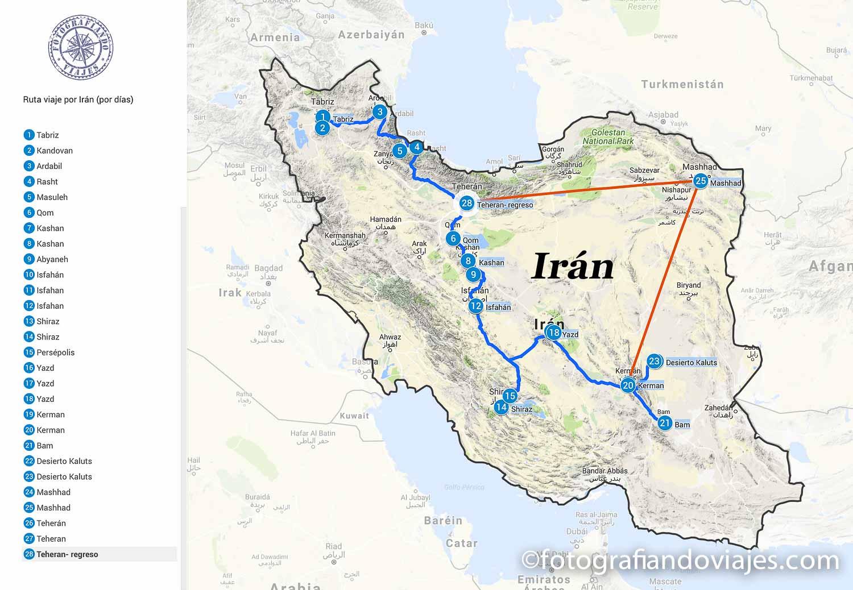Ruta viaje a Iran