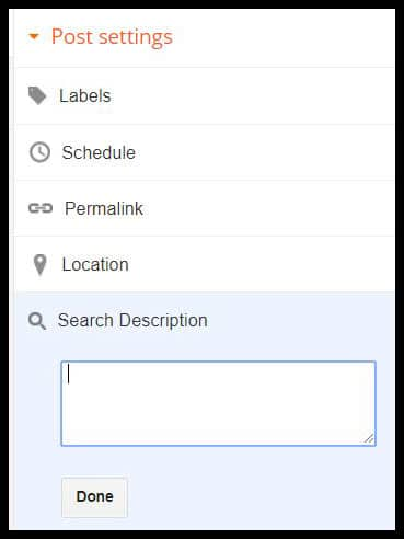 Showing search description in blog post