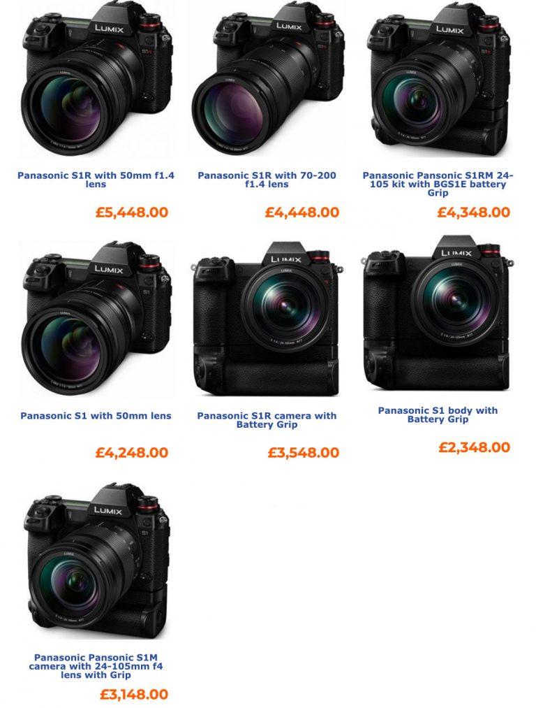 Цена на разные комплектации камер Panasonic Lumix S1 и S1R