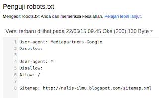 Penguji Robots.txt Google Webmaster