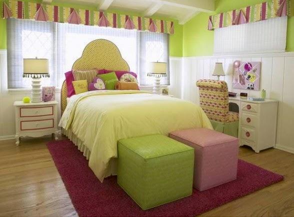 dormitorio niña verde amarillo
