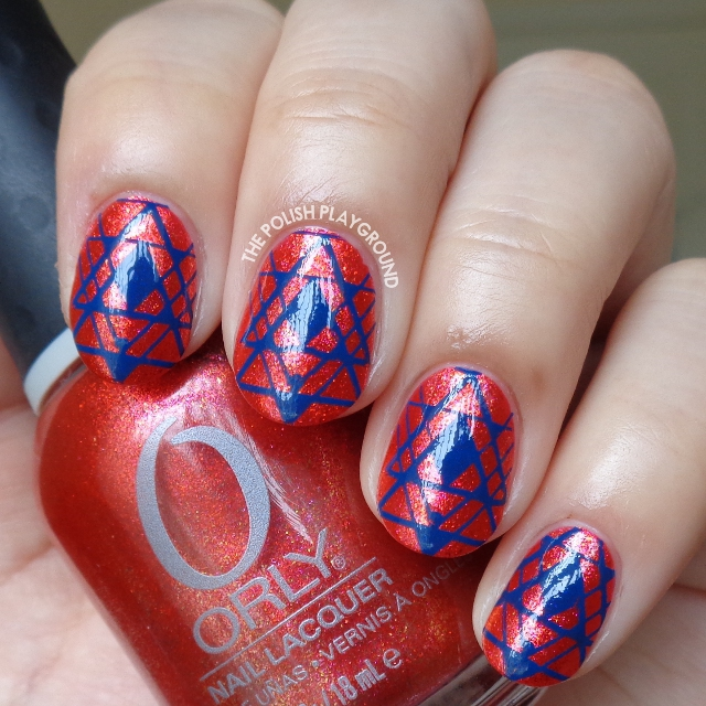 Shimmery Red with Dark Blue Tribal Inspired Stamping Nail Art