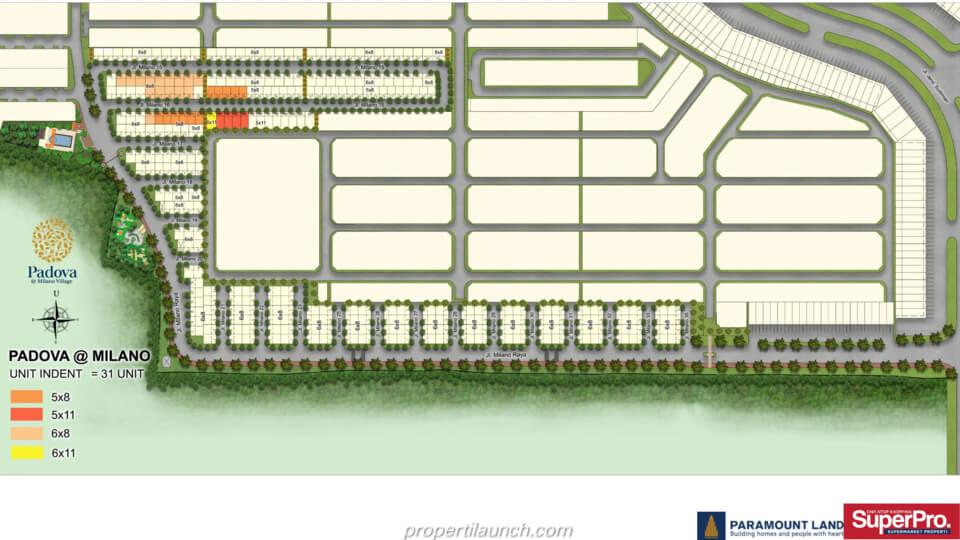 Siteplan Rumah Padova Milano Village Serpong