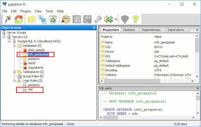 Tampilan PostgreSQL dengan PgAdmin