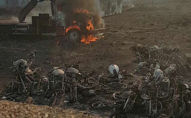 Mega incêndio destrói veículos aprendidos no depósito da  Polícia Civil em Porto Velho