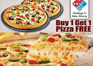 Dominos Pizza Buy 1 Get 1 Free + 30% Cashback