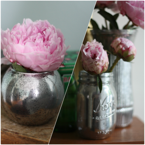 once complete the creative uses are endless i played around with different flower arrangements around the house since i had some beautiful peonies on hand - How To Make Mercury Glass