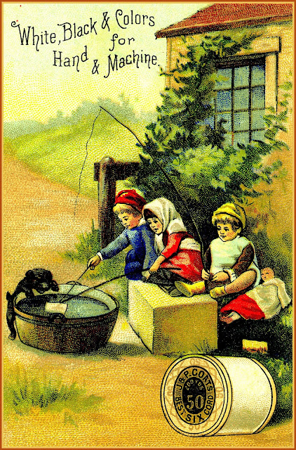 "Three children ""fish"" and ""sail"" in large wash tub outside their home while puppy watches with front paws over side of tub"