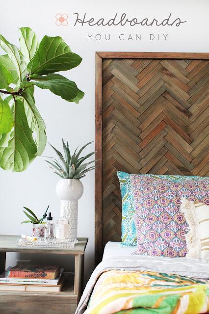 Create a herringbone wood headboard
