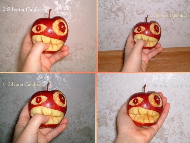 Intagli frutta e verdura Mela addenta dito Silvana Calabrese - Blog