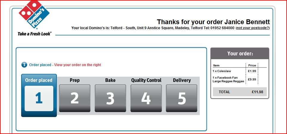 Domino's Pizza Order Update