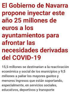 Valoramos positivamente el reparto de los 25 millones propuesto por Gobierno de Navarra