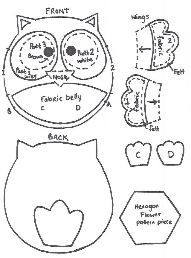 owl templates for sewing - quirky artist loft free pattern felt owl