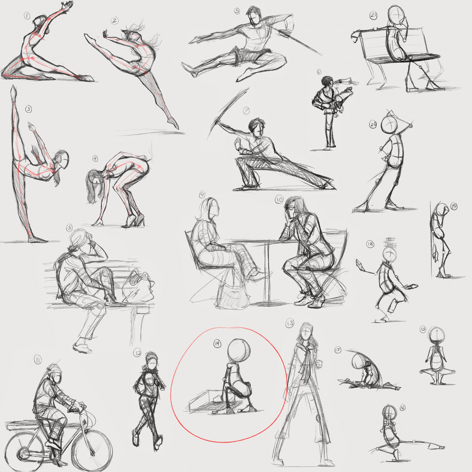 As you can see each pose has a line of action running through the body and the limbs even though they arent part of the main line either flow