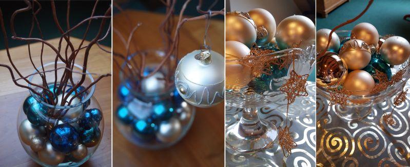 Weihnachtsdeko mit Kugeln, Korkenzieherästen und Glas