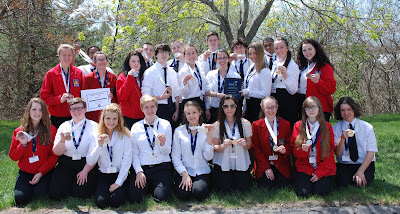 Students from Tri-County Regional Vocational Technical High School pose with their medals after the SkillsUSA Massachusetts State Leadership and Skills Conference Championships held from April 28 to April 30 in Marlborough