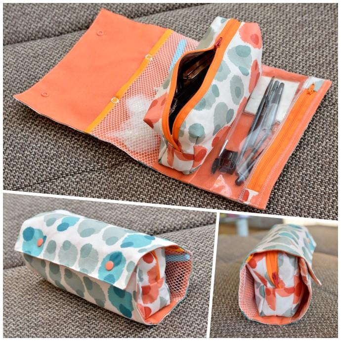 RollUp Tasche als Kosmetiktasche nach Farbenmix (Taschenspieler 4), wasserabweisend aus beschichteter Baumwolle, mit Netzfach und Reißverschlussfach aus Fensterfolie