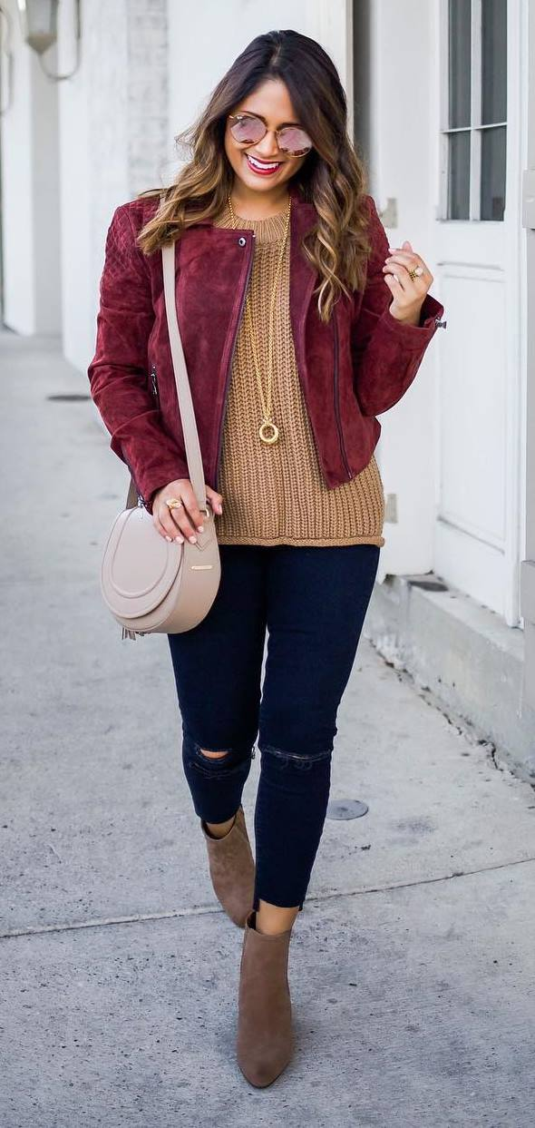 trendy fall outfit: maroon jacket + knit + bag + rips + boots