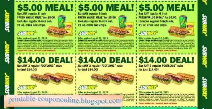 Subway online coupons