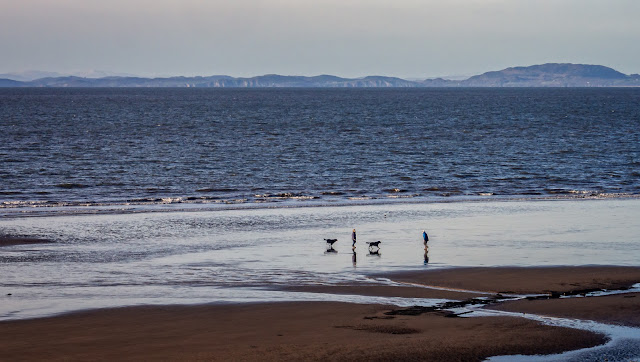 Photo of dog walkers on the beach at Maryport at low tide