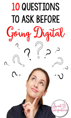 See if technology integration is right for you and your students. You'll find the 10 questions to ask before going digital. There's a FREE checklist too. Click through to learn more for your 2nd, 3rd, 4th, 5th, or 6th grade students. You'll be considering 21st Century Skills, enhancement, going paperless, student engagement, differentiation, and more about technology integration in the classroom. (upper elementary, second, third, fourth, fifth, sixth graders, freebie)