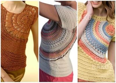 Jersey medio circulo lateral gráfico crochet