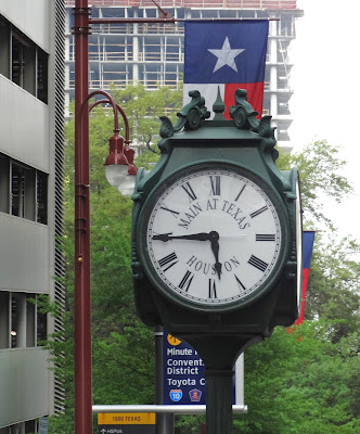 Main at Texas Post Clock on street corner
