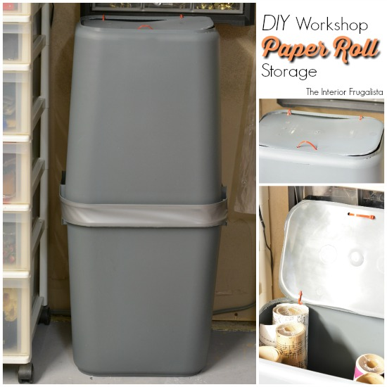 Basement Workshop with DIY Garbage Can Wallpaper Storage Bin