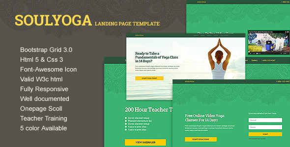 Soulyoga Landing Page Responsive HTML5 Template