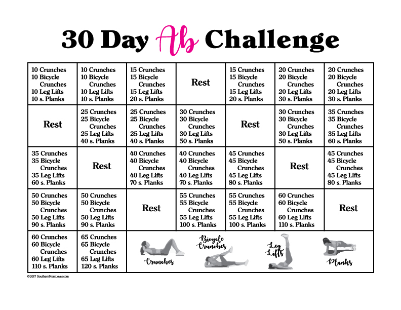 photograph relating to Printable Ab Workout known as Southern Mother Enjoys: 30 Working day Ab Dilemma with Calendar and