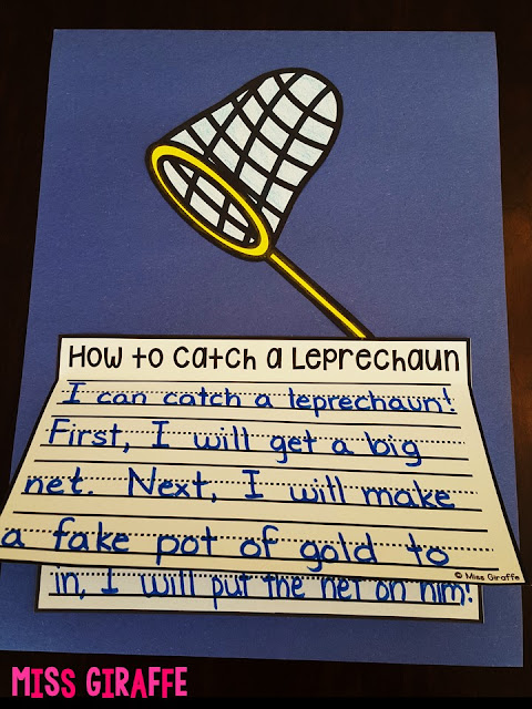 How to Catch a Leprechaun is a perfect how to writing activity for first grade - click to see all the different writing prompts for March!