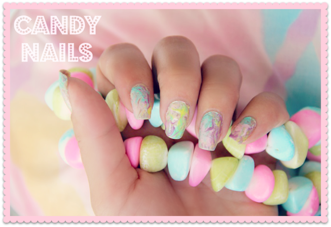 pink yellow blue purple marble nails
