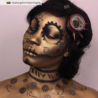 Bronze steampunk makeup - steampunk skeleton sugar skull makeup