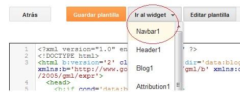 Buscando el código de la Barra de navegación de Blogger