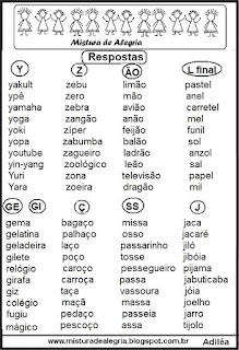 Adedonha com sequência alfabética respostas