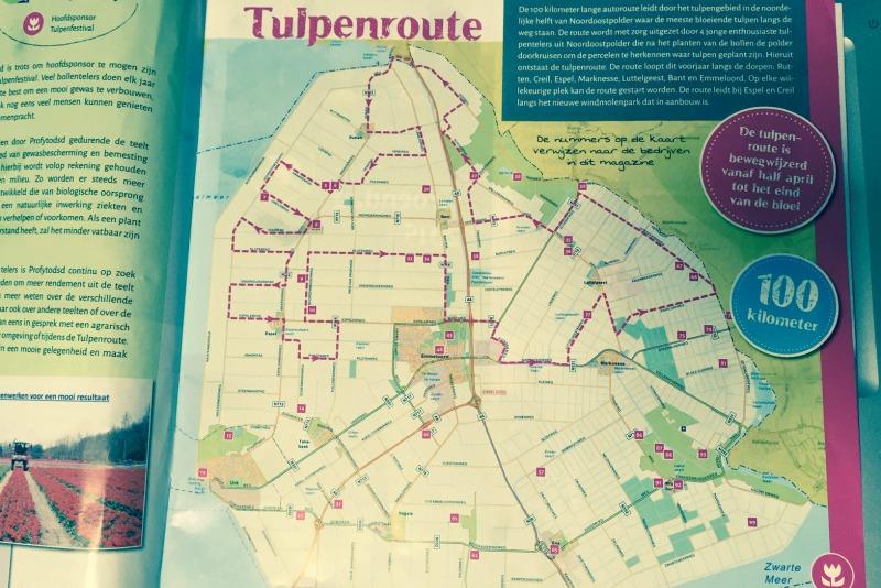 Plano de la ruta del tulipán