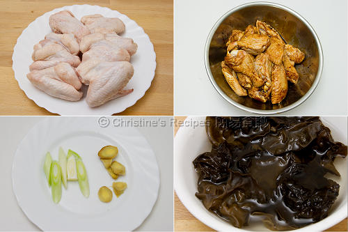 雲耳燜雞翼材料 Braised Chicken Wings with Black Fungus Ingredients