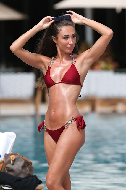 Megan McKenna Hot in Red Bikini - Miami