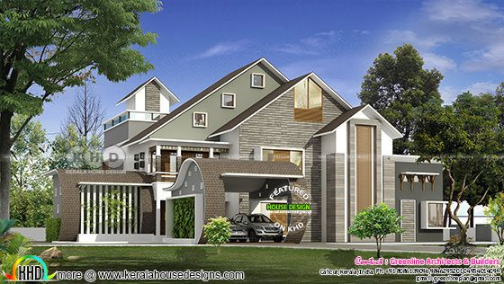 5 bedroom sloping roof house in contemporary style