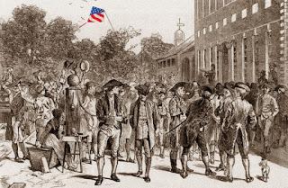 El acto de lectura pública de la Declaración de Independencia de los Estados Unidos, el 8 de julio de 1776.