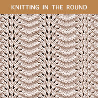 Old Shale Lace Knitting in the round | Knitting Stitch Patterns.