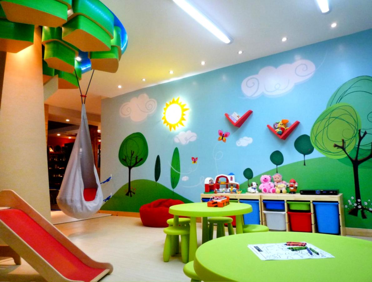 Beauteous Design Kids Playroom Interior features Hill Landscape