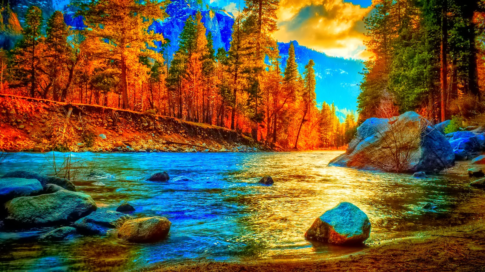 Awesome Autumn - River Background
