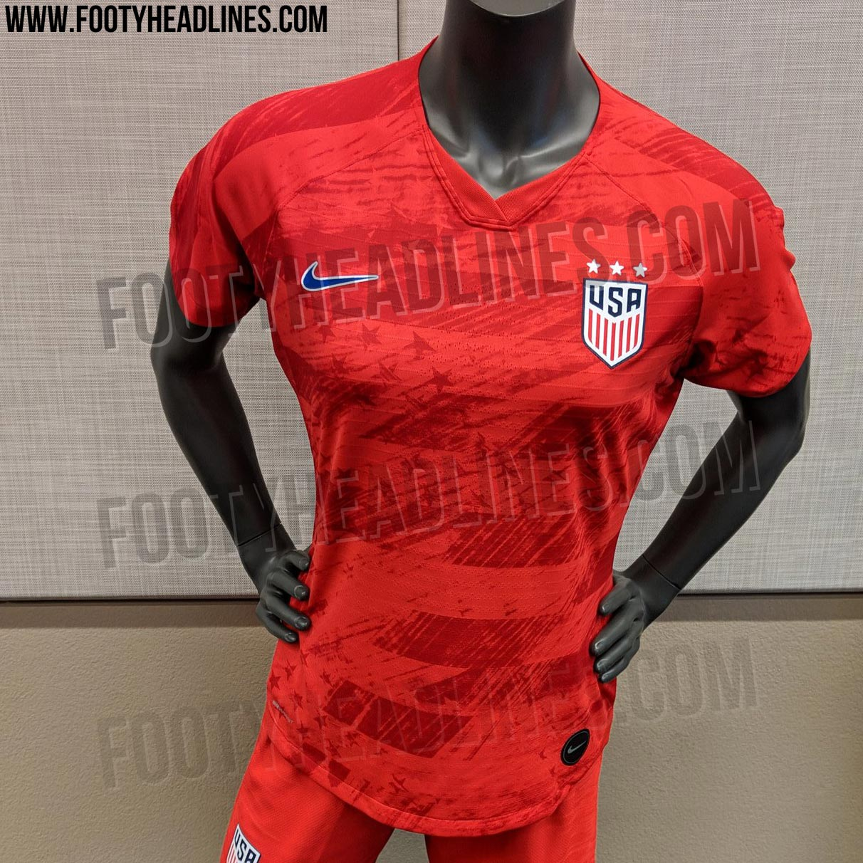 914c0848b12 The Nike USA 2019 Women s World Cup away kit is red with a unique stars and  stripes graphic design on the front. The Nike USA 2019 FIFA Women s World  Cup ...