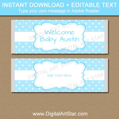 aqua blue boy baby shower party favor template instant download