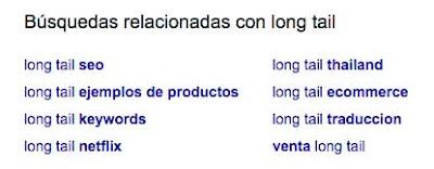 pantallazo de búsquedas relacionadas de Google