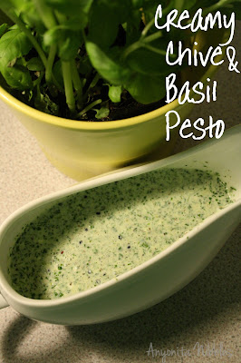 pesto, basil pesto, chives, chive pesto, chive and basil pesto, healthy, homemade