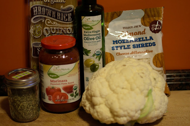 The ingredients needed to make the Vegan Cauliflower Parmesan Recipe