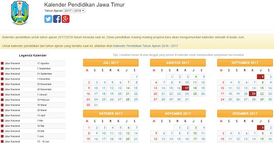 Contoh kalender pendidikan provinsi Jawa Timur