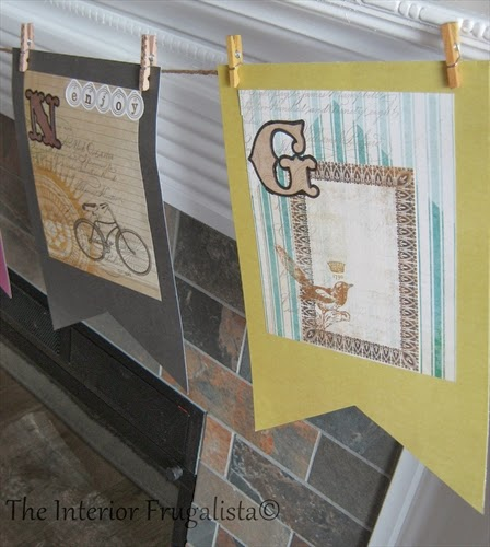 Close up of flag banner for our Spring Mantle under $10.00!